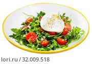 Купить «Image of salad with burrata italian cheese, arugula and cherry tomatoes», фото № 32009518, снято 21 сентября 2019 г. (c) Яков Филимонов / Фотобанк Лори