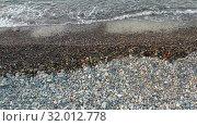 Купить «Aerial video of pebble beach natural background. Camera looks down with movement across surf line.», видеоролик № 32012778, снято 14 июля 2019 г. (c) Serg Zastavkin / Фотобанк Лори