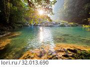 Купить «Beautiful natural pools in Semuc Champey, Lanquin, Guatemala, Central America», фото № 32013690, снято 15 ноября 2019 г. (c) easy Fotostock / Фотобанк Лори