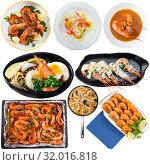 Купить «Set of dishes with shrimps», фото № 32016818, снято 14 октября 2019 г. (c) Яков Филимонов / Фотобанк Лори