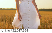 Купить «woman in white dress walking along cereal field», видеоролик № 32017354, снято 4 августа 2019 г. (c) Syda Productions / Фотобанк Лори