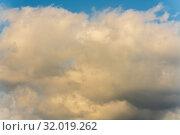 Купить «Божественные золотистые летние облака на небе. Натуральный природный фон, мягкий фокус», фото № 32019262, снято 12 августа 2019 г. (c) А. А. Пирагис / Фотобанк Лори