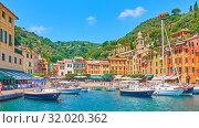 Купить «Portofino town panoramic view», фото № 32020362, снято 1 июля 2019 г. (c) Роман Сигаев / Фотобанк Лори