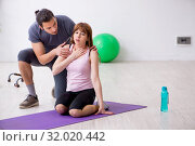 Купить «Young woman feeling bad during training in first aid concept», фото № 32020442, снято 10 мая 2019 г. (c) Elnur / Фотобанк Лори