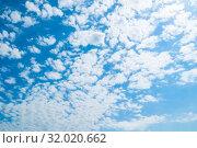 Купить «Голубое небо. Небесный закатный пейзаж. Blue sky background - white colorful clouds lit by sunlight, blue sky landscape», фото № 32020662, снято 24 мая 2019 г. (c) Зезелина Марина / Фотобанк Лори