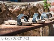 Купить «Деревянные башмаки. Sandals with wooden soles», фото № 32021462, снято 5 июня 2019 г. (c) Baturina Yuliya / Фотобанк Лори