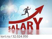 Купить «Concept of increasing salary with businessman», фото № 32024950, снято 29 мая 2020 г. (c) Elnur / Фотобанк Лори