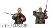 Купить «Military man with a gun isolated on white», фото № 32025554, снято 28 декабря 2014 г. (c) Elnur / Фотобанк Лори