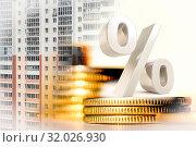 Купить «Символ процента на фоне денег и строительства», фото № 32026930, снято 27 декабря 2019 г. (c) Сергеев Валерий / Фотобанк Лори