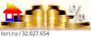 Купить «Cимвол  недвижимости и процента на фоне денег», фото № 32027654, снято 17 августа 2019 г. (c) Сергеев Валерий / Фотобанк Лори