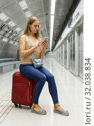 Купить «Tired woman waiting subway», фото № 32038834, снято 19 сентября 2018 г. (c) Яков Филимонов / Фотобанк Лори