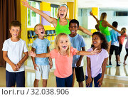 Children having fun in choreography class. Стоковое фото, фотограф Яков Филимонов / Фотобанк Лори
