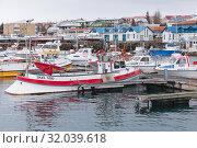 Купить «Hafnarfjordur harboour. Iceland», фото № 32039618, снято 4 апреля 2017 г. (c) EugeneSergeev / Фотобанк Лори