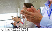Купить «Business people applauding in the business seminar 4k», видеоролик № 32039754, снято 21 ноября 2018 г. (c) Wavebreak Media / Фотобанк Лори