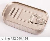 Купить «Closed silver tin can», фото № 32040454, снято 6 июля 2020 г. (c) Яков Филимонов / Фотобанк Лори