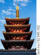 Купить «Japan, Honshu, Tokyo, Asakusa, Sensoji Temple, Five Storied Pagoda», фото № 32045102, снято 10 апреля 2020 г. (c) age Fotostock / Фотобанк Лори