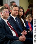 April 12, 2016 Warsaw, Poland. Pictured: President Andrzej Duda, Marta Kaczynska. Редакционное фото, фотограф BE&W AGENCJA FOTOGRAFICZNA SP. / age Fotostock / Фотобанк Лори
