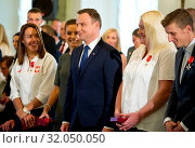 Купить «October 5th, 2016 Warsaw, Poland. Andrzej Duda decorated olympians and paralympians.», фото № 32050050, снято 18 февраля 2020 г. (c) age Fotostock / Фотобанк Лори