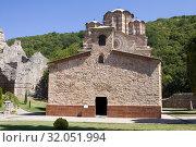 Купить «Церковь в православном монастыре Раваница в Сербии», фото № 32051994, снято 30 августа 2012 г. (c) Солодовникова Елена / Фотобанк Лори