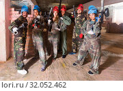 Купить «Portrait of red and blue teams who are ready for paintball», фото № 32052462, снято 10 июля 2017 г. (c) Яков Филимонов / Фотобанк Лори