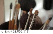 Купить «Brushes for Makeup artists Macro 100mm slider camera smooth motion», видеоролик № 32053118, снято 20 августа 2019 г. (c) Aleksejs Bergmanis / Фотобанк Лори