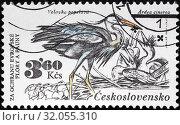 Grey Heron, Ardea cinerea, postage stamp, Czechoslovakia, 1983. (2014 год). Редакционное фото, фотограф Ivan Vdovin / age Fotostock / Фотобанк Лори
