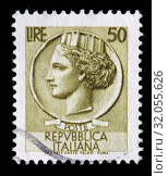 Купить «Allegory of Italy from coin of Syracuse, postage stamp, Italy, 1953.», фото № 32055626, снято 6 декабря 2010 г. (c) age Fotostock / Фотобанк Лори