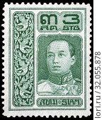 King Vajiravudh (1910-1925), postage stamp, Siam, Thailand, 1921. (2014 год). Редакционное фото, фотограф Ivan Vdovin / age Fotostock / Фотобанк Лори