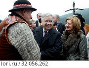 Chocholowska Valley, Poland - 14.10.2005. Pictured: Lech Kaczynski and Maria Kaczynska. Редакционное фото, фотограф jackowski henryk / age Fotostock / Фотобанк Лори