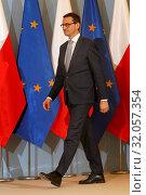 Warsaw, Poland 22.02.2018. Pictured: Prime Minister of Poland Mateusz Morawiecki during the press conference. Редакционное фото, фотограф Kleta / age Fotostock / Фотобанк Лори