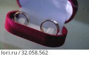 Silver Wedding Rings in the red box macro closeup shoot diamon Jewellery. Стоковое видео, видеограф Aleksejs Bergmanis / Фотобанк Лори