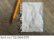 crumpled notebook sheet and pencil. Стоковое фото, фотограф Яков Филимонов / Фотобанк Лори