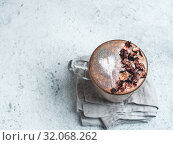 diamond cappuccino coffee with dried rose petals. Стоковое фото, фотограф Ольга Сергеева / Фотобанк Лори