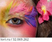 Купить «Woman with fashion feather eyelashes make-up», фото № 32069262, снято 2 июля 2019 г. (c) Serg Zastavkin / Фотобанк Лори