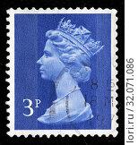 Queen Elizabeth II, Machin series, postage stamp, UK, 1971. (2010 год). Редакционное фото, фотограф Ivan Vdovin / age Fotostock / Фотобанк Лори