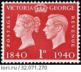 Centenary postage stamp, Queen Victoria, King George VI, postage stamp, UK, 1940. (2013 год). Редакционное фото, фотограф Ivan Vdovin / age Fotostock / Фотобанк Лори