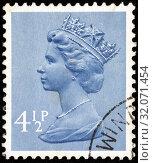Queen Elizabeth II, Machin series, postage stamp, UK, 1973. (2014 год). Редакционное фото, фотограф Ivan Vdovin / age Fotostock / Фотобанк Лори