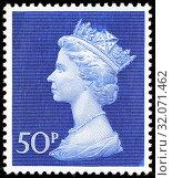 Queen Elizabeth II, Machin series, postage stamp, UK, 1970. (2014 год). Редакционное фото, фотограф Ivan Vdovin / age Fotostock / Фотобанк Лори