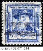 Walt Whitman (1819-1892), American poet, postage stamp, USA, 1940. (2010 год). Редакционное фото, фотограф Ivan Vdovin / age Fotostock / Фотобанк Лори