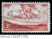 Kansas Territory Centennial, Statehood Kansas, postage stamp, USA, 1954. (2010 год). Редакционное фото, фотограф Ivan Vdovin / age Fotostock / Фотобанк Лори