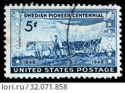 Swedish pioneer centennial, postage stamp, USA, 1948. (2010 год). Редакционное фото, фотограф Ivan Vdovin / age Fotostock / Фотобанк Лори