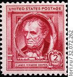 James Fenimore Cooper (1789-1851), American writer, postage stamp, USA, 1940. (2013 год). Редакционное фото, фотограф Ivan Vdovin / age Fotostock / Фотобанк Лори