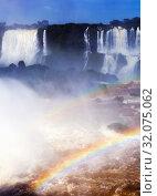Купить «Waterfall Cataratas del Iguazu on Iguazu River, Brazil», фото № 32075062, снято 17 февраля 2017 г. (c) Яков Филимонов / Фотобанк Лори