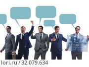 Купить «Businessmen with callout bubble blank message isolated on white», фото № 32079634, снято 18 февраля 2020 г. (c) Elnur / Фотобанк Лори
