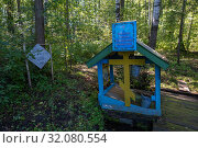 Купить «Holy spring in honor of the icon of the Blessed Virgin Mary. Inexhaustible bowl in a dense forest, Russia.», фото № 32080554, снято 20 августа 2019 г. (c) Валерий Смирнов / Фотобанк Лори