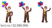 Купить «Funny male clown isolated on white», фото № 32080906, снято 16 сентября 2019 г. (c) Elnur / Фотобанк Лори