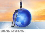 Купить «Businessman on top of the world», фото № 32081402, снято 20 сентября 2019 г. (c) Elnur / Фотобанк Лори