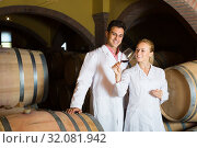 Купить «Two smiling wine house workers checking quality of product», фото № 32081942, снято 21 сентября 2016 г. (c) Яков Филимонов / Фотобанк Лори