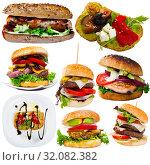 Купить «Cheeseburgers, sandwiches and fastfood dishes isolated on white background», фото № 32082382, снято 23 октября 2019 г. (c) Яков Филимонов / Фотобанк Лори
