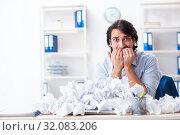 Купить «Businessman rejecting new ideas with lots of papers», фото № 32083206, снято 13 февраля 2019 г. (c) Elnur / Фотобанк Лори
